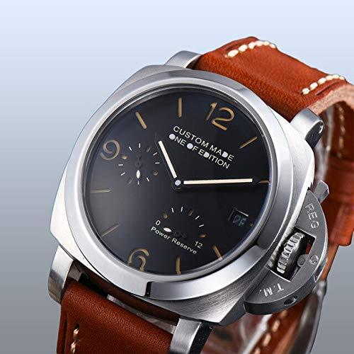 CHASO Uhr 42Mm Automatik Parnis Silber Edelstahl Uhr Schwarzes Zifferblatt Qualität Braunes Lederband Kalender Leuchtzeiger 1