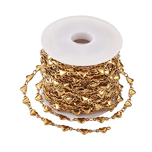 Cheriswelry Cadena de acero inoxidable dorado de 5 m con forma de corazón soldado con amor en forma de corazón, cadena para joyas y pulseras para mujeres y niñas