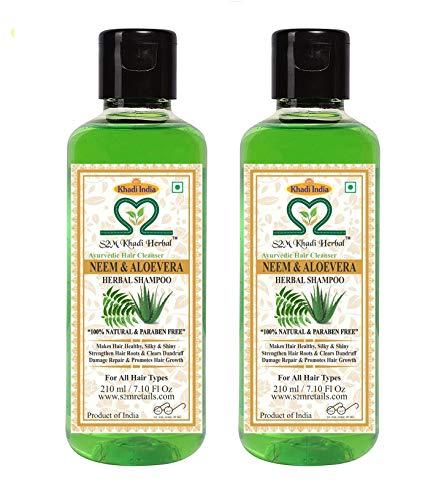 S2M Khadi Herbal Neem Aloevera Shampoo ( NO PARABEN ) Ayurvedic Anti Dandruff / Anti Fungal Hair Cleanser 210ml ( SET OF 2 )