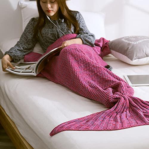 Manta de punto de lana de cola de pez de sirena, manta de color puro, el mejor regalo para niñas, damas Adecuado para sofá, sillón, cama y sofá, adulto - Mandalai violet_80 x 180 cm adulto