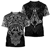 Astemdhj Camiseta de Manga Corta Camisa 3D Verano Nuevos Hombres Vikingo 3D Imprimir Ropa Caliente Tendencia Punk Camiseta Harajuku Hombres Top XXXL Ljy6