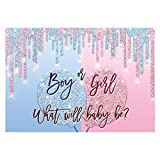 Funnytree Gender Reveal Party Backdrop Pink and Blue Boy or Girl Gold Glitter Balloons Photography Background He or She Baby Shower Cake Table Decorations Banner Photo Booth Props Supplies 7x5ft