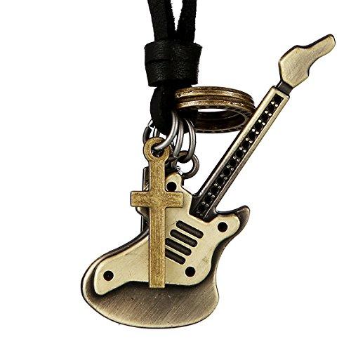 DonDon® Herren Halskette aus Leder schwarz mit messingfarbenen E-Gitarren-Anhänger und Samtbeutel