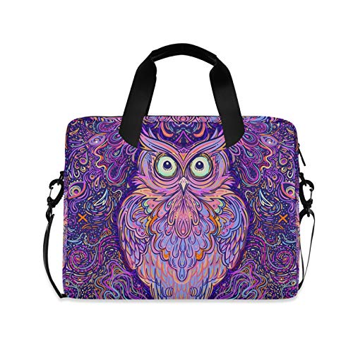 Hupery Cute Abstract Owl Laptop Messenger Bag Laptop Shoulder Bags Computer Carrying Sleeve Case Business Briefcase Laptop Bag for Men Women