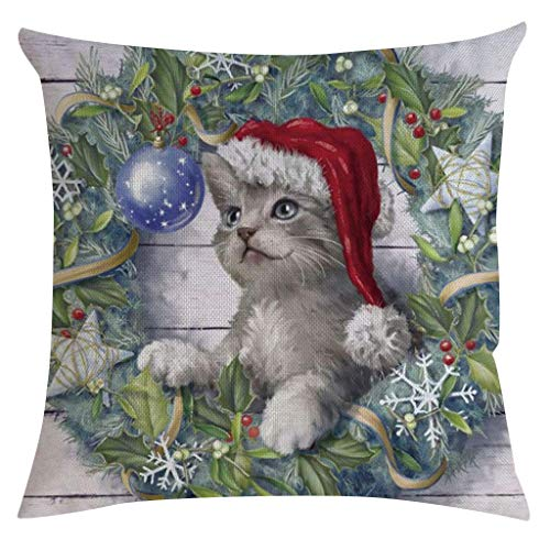 Lsjuee Shan-S Christmas Throw Pillow Cover 18 'x 18' Decorativo Encantador Papá Noel Cachorro Gato Cojín de Lino de algodón Funda de Almohada Fundas de Almohada cuadradas con Cremallera para Navidad