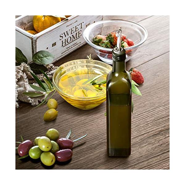 Aozita 17oz Glass Olive Oil Bottle - 500ml Green Oil & Vinegar Cruet with Pourers and Funnel - Olive Oil Carafe Decanter… 4 51Yrh7QqoGL