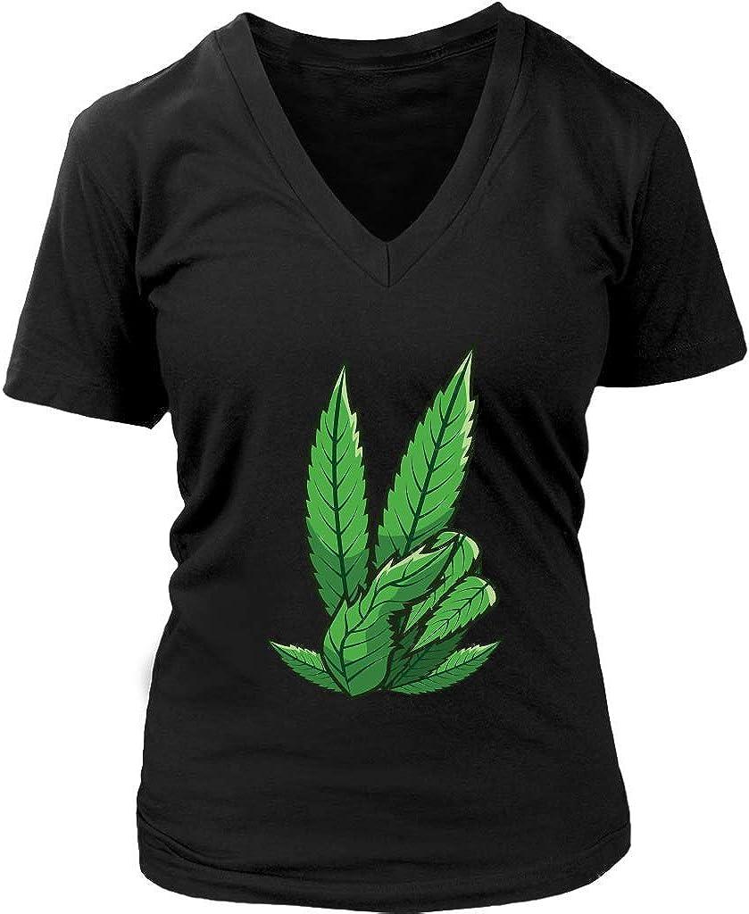Womens shop Marijuana Peace Sign Weed Pothead New Shipping Free Shipping Gift T-Sh V-Neck Smoker