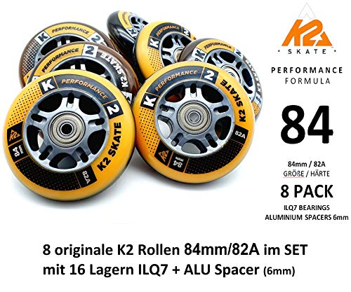 K2 ROLLEN SET 8 STÜCK 84mm/82A + 16 ILQ7 + 8 ALU SPACER 6mm (SET-3053011.1.1.84mm)