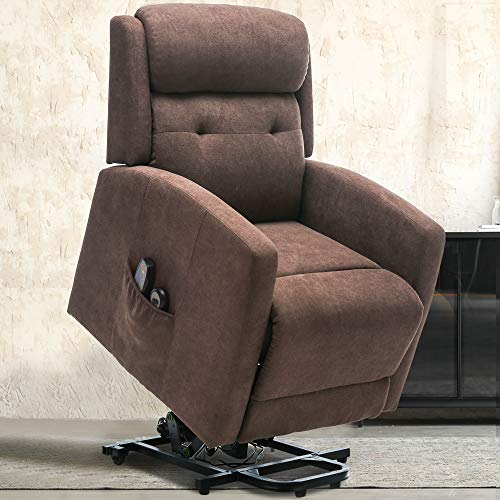 ERGOREAL Power Lift Recliner Chairs for Elderly with Massage, Heated Electric Chair Lift for Senior, Tufted Heavy Duty Lift Chair Linen Fabric with Remote Control, Motorized Single Sofa-Brown