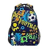 Jeansame Mochila Escolar Bolsa de Viaje para computadora portátil para niños niñas Mujeres Hombres fútbol niño Abstracto Juego Deportes