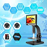 Digital Microscope Hollee 12MP 2000X Magnification USB Microscope 7 Inch Dual Lens with 32G Card Rechargeable Microscope Camera Adjustable LED for Education Industrial Biological Repair Soldering Tool