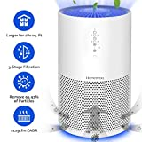 Homemaxs Air Purifier for Smokers Allergies and Pets Hair, 【2019 NEWEST】True HEPA Filter, Quiet for Large Room up to 280 sq. Ft, Night Light & Time, Captures up to 99.97% of Smoke,Dust, 3-Yr Warranty