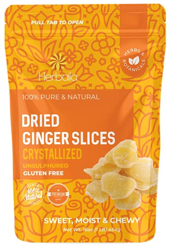 Dried Crystallized Ginger Chunks, 16 oz. Unsulphured Dried Ginger Candy, Candied Ginger Chunks, Caramelized Ginger Chews Candy, Unsulphured Crystalized Ginger Pieces. All Natural, Non-GMO, 1 Pound.