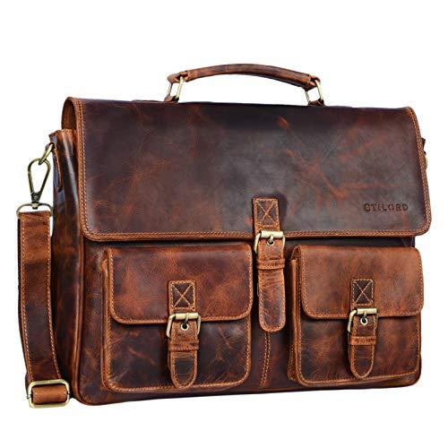 STILORD 'Victor' Vintage Aktentasche Herren Leder Moderne Businesstasche für große A4...