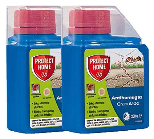 Protect Home Granulado, Pack de 2 Insecticida Anti Forma de Cebo, Mata Hormigas y Elimina Hormigueros [2 x 200 gr