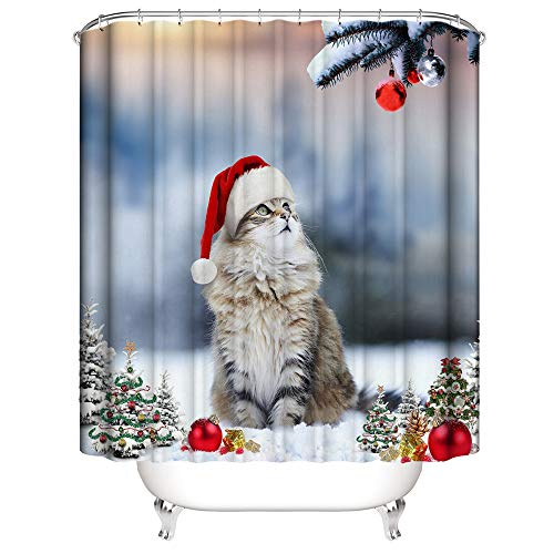 Litthing Duschvorhang Weihnachten AccessoriesBath Multiple Christmas PatternSeal Anti-Mold Duschvorhang Polyester Home Decor (Katze, 180 x 200 cm)