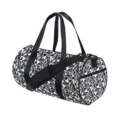 ZOMOY Sporttasche,Moderne einfarbige Fractal Geometrie mit Dreieck Fliesen Wiederholung im Rhythmus,Neue Bedruckte Eimer Sporttasche Fitness Taschen Reisetasche Gepäck Leinwand Handtasche