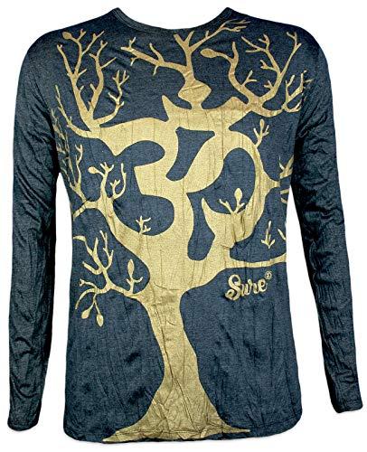 Sure Clothing Herren Longsleeve T-Shirt - Om Magischer Baum Sondermodell Größe M L XL Hinduismus Yoga Psychedelic Art (Schwarz-Gold M)