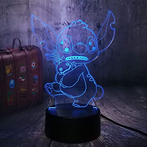 Neuheit Design Cartoon Niedlichen Stich Halten einer Puppe 3D LED Nachtlicht 7 Farbwechsel Schreibtisch Lampe Kind Weihnachtsspielzeug Home Decor Urlaub