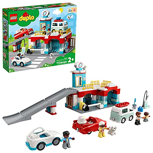 LEGO DUPLO Parking Garage and Car Wash 10948 Kids' Building Toy Featuring a Car Wash, Gas Station and Car Park; New 2021 (112 Pieces)