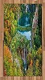 ABAKUHAUS Otoño Alfombra de Área, Caída Escénica Lagos del Valle, Ideal para Sala de Estar o Comedor Resistente a Manchas, 80 x 150 cm, Verde Azul Naranja