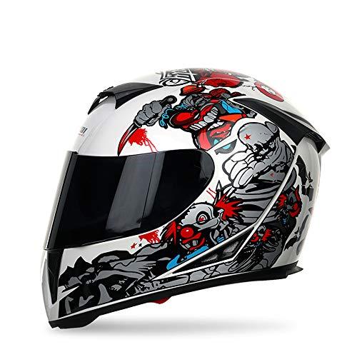 Integralhelm Kinder Herren Damen Motorradhelm Helm mit Sonnenblende S -XL,Schwarz,XXL