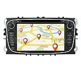Android 10 Quad Core 7 Pulgadas 1 + 16 GB GPS Navigator Auto Stereo Compatible con Ford Mondeo Focus S/C MAX Galaxy Kuga 1080P Radio Bluetooth 4.0 USB SDWIFI CANBUS SWC Negro