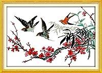 大人のためのDIY5Dダイヤモンドペインティングフルキット、梅ツバメ、家の壁の装飾ギフトのためのラウンドドリルフルダイヤモンドナンバークリスタル刺繡アート16x20インチ