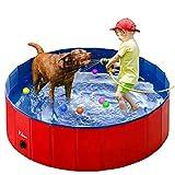Fuloon Hundepool für Hunde, Faltbarer Hunde Pool Katzenpool Swimmingpool Planschbecken Schwimmbad Hundebadewanne PVC-Rutschfest, Verschleißfest, Für Kinder Den Hund Katze