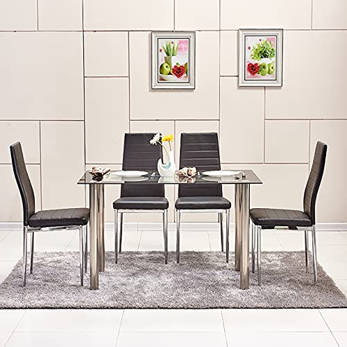 MeJa Modern Rectangle Glass Dinning Table for 2/4/6 People High Gloss Kitchen Table with Stainless Steel Table Legs Home Dining Room Furniture