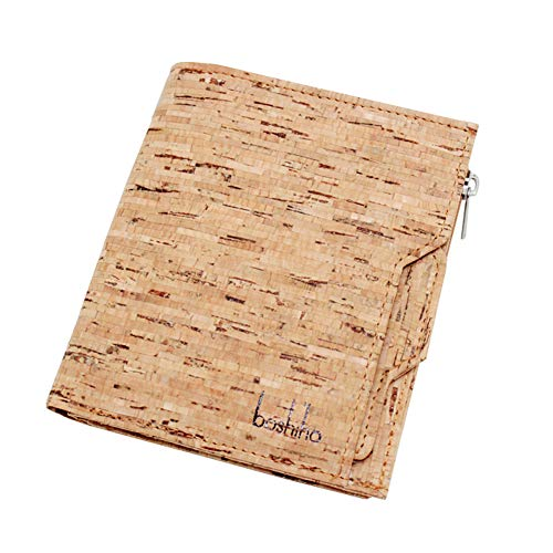 Boshiho Eco-friendly Cork Wallet - Slim Bifold Vegan Credit ID Card Holder Purse for Men and Women (Cork 1)