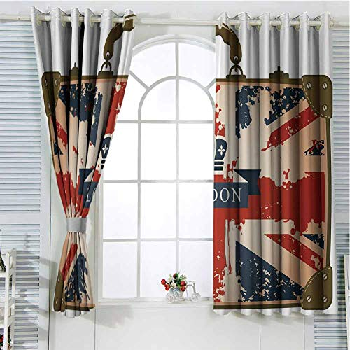 HELLOLEON Union Jack Curtains Dark Blue Red Brown Room Darkening Curtains 55x63 Inch Vintage Travel Suitcase with British Flag London Ribbon and Crown Image