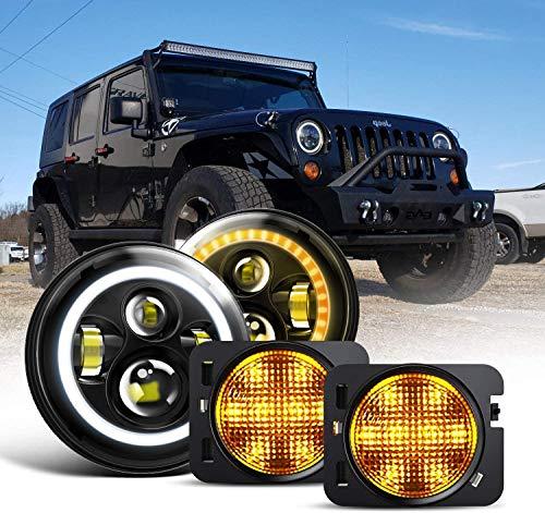 Spead Vmall 7 Inch 60W Black LED Headlights with White DRL/Amber Turn Signal + Amber Yellow Front Fender Side Marker Flares For Wrangler 1997-2018 JK LJ Tj Lj JKU Unlimited