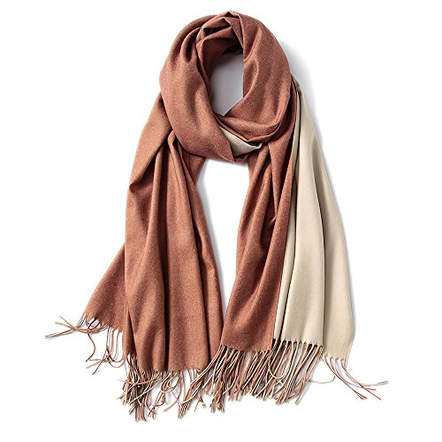 Cashmere Feel Warm 2 Tone Shawl - Oversized 78'x28' Wrap Scarf (Rusty Brown and Ivory)
