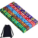 AUSTOR 50 Pieces 6 Sided Dice Set 5 x 10 Pearl Colors Square Corner Dice with Free Velvet Pouch