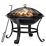 Hykolity Fire Pit, 22-inch Outdoor Wood Burning Firepit Portable Steel BBQ Grill with Mesh Spark Screen Log Grate Wood Fire Poker for Backyard, Camping, Picnic, Bonfire, Garden