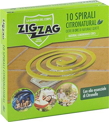 Zig Zag, Spirali Citronatural, Naturali senza insetticida per esterno, durata 8 ore, all olio essenziale di citronella, confezione da 10 spirali