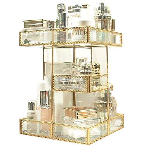 Rotation de 360 degrés Maquillage Organiseur antique Countertop Cosmétique Boîte de rangement en verre miroir Beauté écran, bordure dorée Spin Grande contenance support pour brosses Rouge à lèvres Soins de la peau Toner