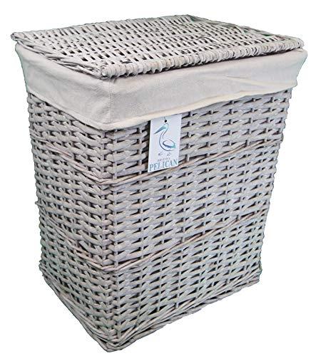 Cestas de mimbre de sauce para la colada y la colada, color gris y blanco, forro lavable extraíble, solución de almacenamiento natural, ropa de baño o dormitorio (gris, rectangular, 80 l)