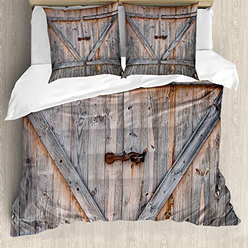 ABAKUHAUS Rustikal Bettwäsche Set für Doppelbetten, Amerikanischer Landhausstil, Weicher Microfaserstoff Allegigeignet kein Verblassen, Grau