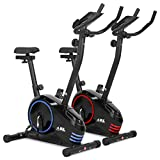 JLL Home Premium Exercise Bike JF150, 2019 New Version Magnetic Resistance Exercise Bike Fitness Cardio Workout with Adjustable Resistance, 5KG Two-Way Flywheel, Console Display with Tablet Holder, Heart Rate Sensor, Adjustable Handlebars and 7-level Seat Height Adjustments, 12 Months Warranty