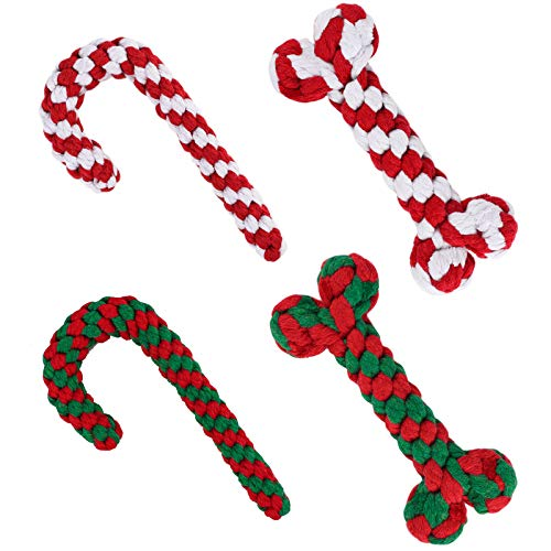 ADXCO 4 Pack Christmas Pet Chew Toys Dog Rope Toys for Aggressive Chewable Candy Cane and Bone Shape Suitable for Small Medium Large Dog