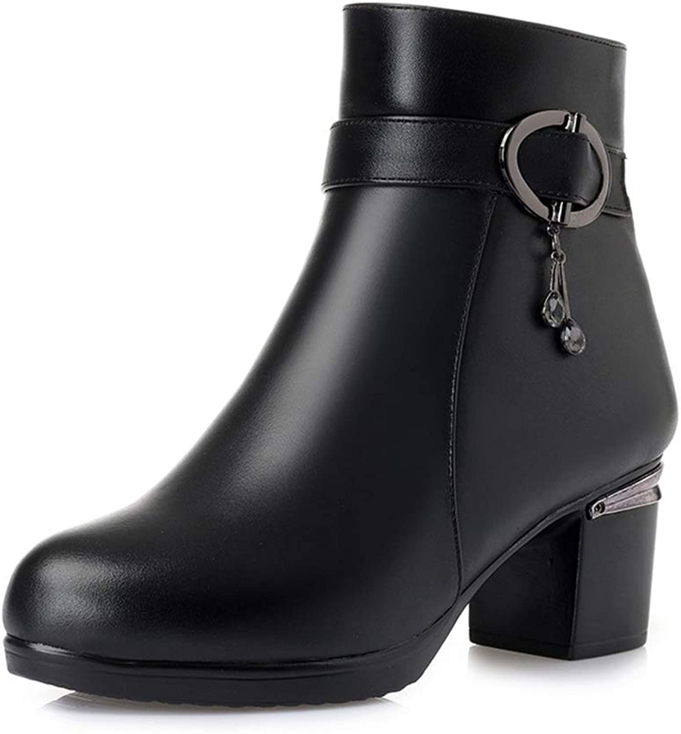 JOYBI Women Winter Fashion Round Toe Ankle Boot Zip Faux Leather Slip On Thick Mid Heel Waterproof Boots