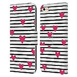 Head Case Designs Licenciado Oficialmente Ninola Rayas Corazones Geométrico 2B Carcasa de Cuero Tipo Libro Compatible con Apple iPhone 6 / iPhone 6s