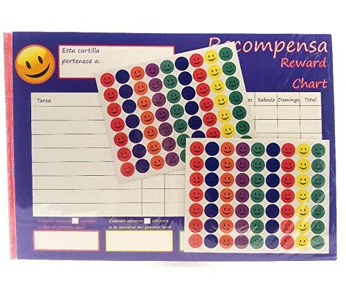 Cuadro de recompensas, cuadro de tareas, tabla de comportamiento, con pegatinas de cara sonriente.