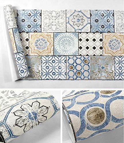 CHUATUAH Böhmische Tapete/Imitation Fliesentapete, PVC wasserdichtes Material,Wohnzimmer Schlafzimmer TV Hintergrundbild,B