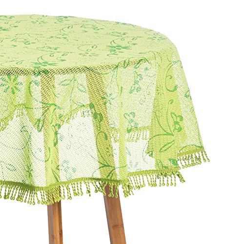 WOLTU Gartentischdecke Weichschaum Tischdecke mit Quaste geschäumt 3D Druck Wetterfest Witterungsbeständig rutschfest Outdoor rund 140 cm Grün Bedruckt