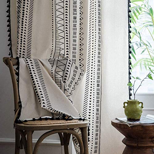 Bohemian Cotton Linen Window Curtain Panel with Tassels Black Striped Geometric Print Farmhouse Style Cotton Linen Room Darkening Curtain Panel for Bedroom Living Room Rod Pocket Top