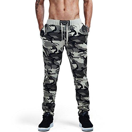 AIMPACT Camo Joggers Pants for Mens Sweat Cotton Pockets Men Pants Outdoor Trousers Elastic Waist (XL)