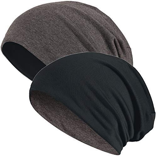 Hatstar Slouch Long Beanie Reversible Strickmütze 2 in 1 Wintermütze in 48 Farben (dunkelgrau/schwarz)